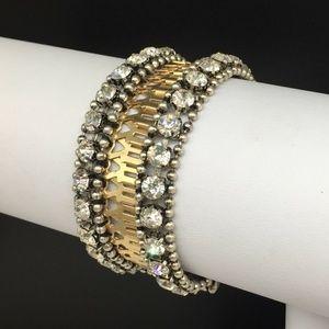 Stella & Dot Gold Silver Clear Rhinestone Bracelet